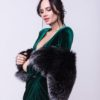 Metallized Black Blue Fox Fur Stole