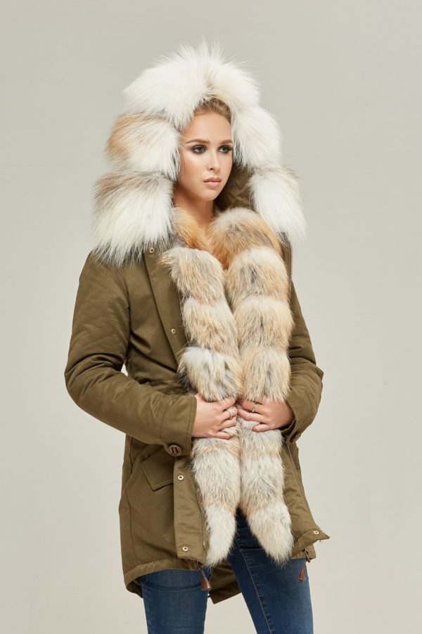 Khaki Parka With Platinum Gold Fox Fur