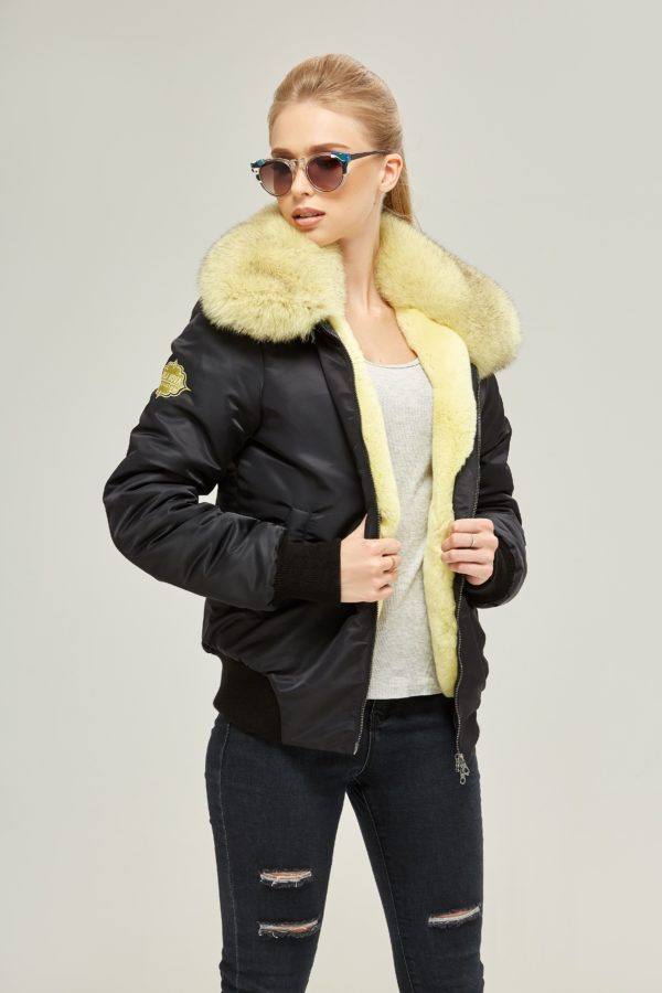 Black Bomber Jacket with Yellow Blue Fox Trim